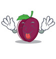 tongue out plum mascot cartoon style vector image vector image