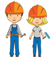 Two cartoon style workers vector image