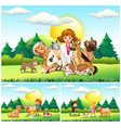 vet and many animals in the park vector image vector image
