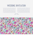 wedding invitation concept with thin line icons vector image vector image