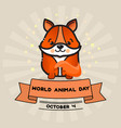 world animal day card with cute fox and vector image