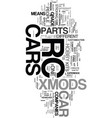Xmods rc car text word cloud concept vector image