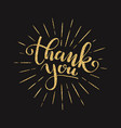 thank you lettering for greeting card vector image