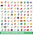 100 woman shopping icons set isometric 3d style vector image vector image