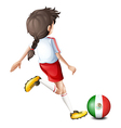 A player using the ball with the flag of Mexico vector image vector image