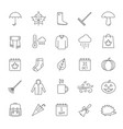 autumn linear icons set vector image vector image