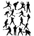 Baseballer silhouettes vector image vector image