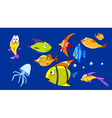 cartoon aquarium with funny fish vector image vector image