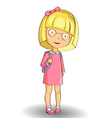 Cartoon style little school girl wearing glasses w vector image