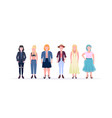 casual women standing together smiling different vector image