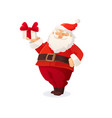 christmas card funny cartoon santa claus holding vector image vector image