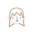color line boy head with long hair design vector image