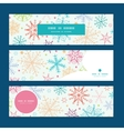 colorful doodle snowflakes horizontal banners set vector image vector image