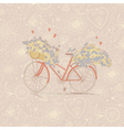 Cute vintage card with a bike and flowers vector image