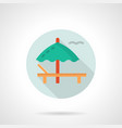 deckchair with umbrella flat round icon vector image
