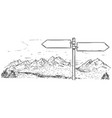 drawing of empty blank traffic road sign on vector image