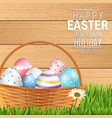 easter colorful eggs in basket vector image vector image