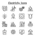 electricity industry icon set in thin line style vector image