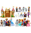 fairytale characters and castle building vector image vector image