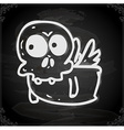 Flying Skeleton Drawing on Chalk Board vector image vector image