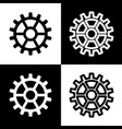 gear sign black and white icons and line vector image vector image