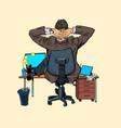 giant businessman at office desk vector image