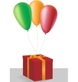 Gift box with colorful balloons
