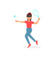 girl playing tennis in virtual reality with vr vector image