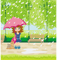girl walking the dog in the rain vector image vector image