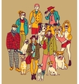Group pets and people color vector image vector image