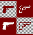 gun sign bordo and white vector image vector image