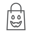 halloween shopping bag line icon package vector image vector image