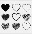 hearts symbol set isolated transparent background vector image