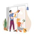 housework household couple washing window together vector image vector image