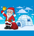 igloo with santa claus theme 3 vector image vector image