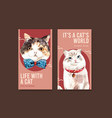 instagram template design with cute cat vector image vector image