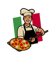 italian pizza logo or label happy cook vector image vector image