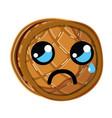 kawaii cute crying waffles with honey vector image vector image