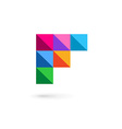 Letter F mosaic logo icon design template elements vector image