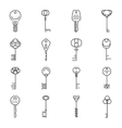 Linear key icons vector image vector image