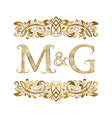 m and g vintage initials logo symbol letters vector image vector image