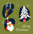 mid century modern christmas badges and elements vector image vector image
