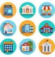 Modern flat buildings set vector image vector image