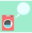 red washing machine with soap speech bubbles vector image vector image