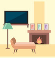 rest room chair tv lamp frame and chimney flame vector image vector image