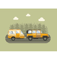 Road Traveler SUV and Camper Trailer Concept vector image vector image