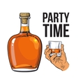 rum bottle and hand holding full shot glass vector image vector image