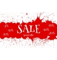 Sale Banner over red paint blot background vector image