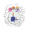 scrub brush and dust pan with wooden handle vector image