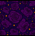 seamless floral mosaic pattern with violet roses vector image